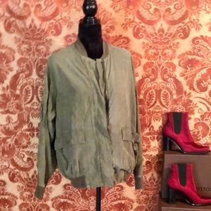 DKNY Olive Sueded Silk Jacket Vintage